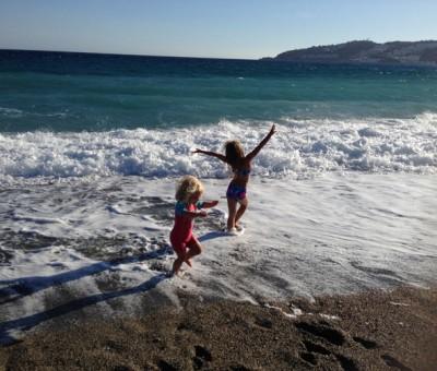 Luna and Isla on Almunecar beach