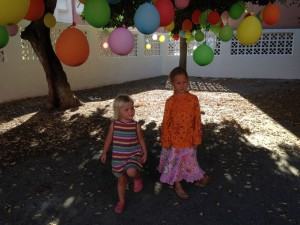 Kids and balloons.