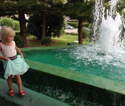 Isla at a fountain.