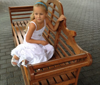 Girl on a bench.