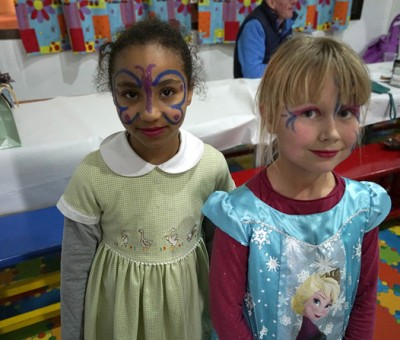 face painted girls